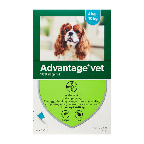 Køb Advantage Vet T/Hund 4-10 kg 4 x 1 ml online hos apotekeren.dk