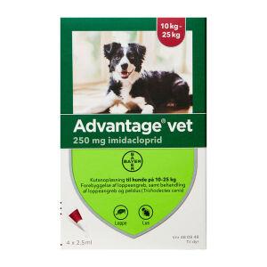 Køb Advantage Vet T/Hund 10-25 kg 4 x 2,5 ml online hos apotekeren.dk