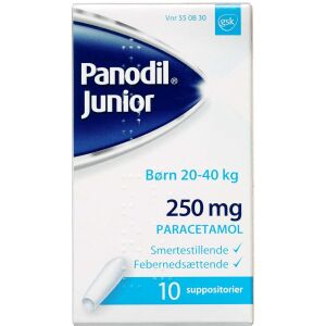 Køb PANODIL JUNIOR SUPP 250 MG online hos apotekeren.dk