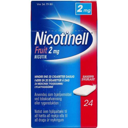 Køb NICOTINELL FRUIT TYGGEG 2MG online hos apotekeren.dk
