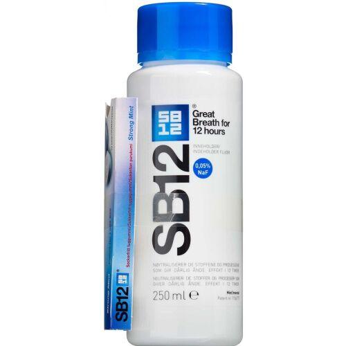 Køb SB12 Original Mundskyl + SB12 Boost Tyggegummi Strong Mint 250 ml + 10 stk. online hos apotekeren.dk