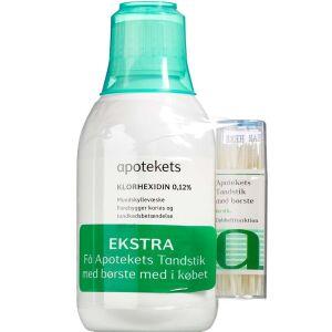 Køb Apotekets sampak Klorhexidin + tandstik 250 ml + 60 stk. online hos apotekeren.dk