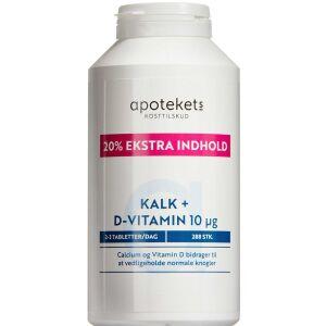 Køb Apotekets Kalk og D-vitamin 10µg + ekstra 20% 288 stk. online hos apotekeren.dk